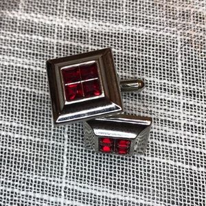 Other - Square cufflinks with red stones